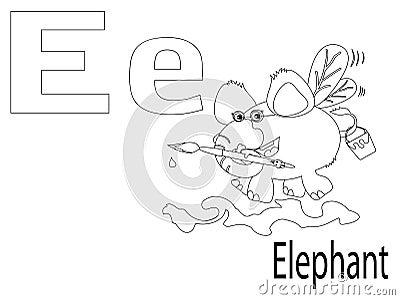 Coloring Alphabet for Kids,E