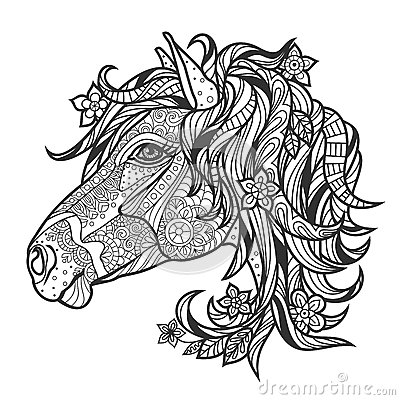 j coloring pages for older kids | Coloring Anti-stress With A Portrait Of A Horse Stock ...