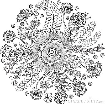 Coloring Book For Adult Abstract Doodle Background Made Of Flowers And Butterfly Vector Illustration