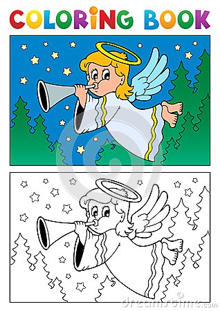 Coloring book angel theme image 4