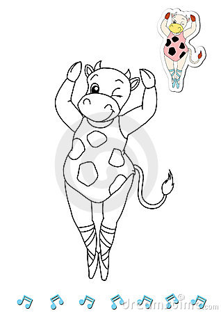 Coloring book animal dancers 1 - cow