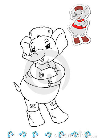 Coloring book animal dancers 11 - elephant