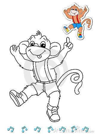 Coloring book animal dancers 12 - monkey