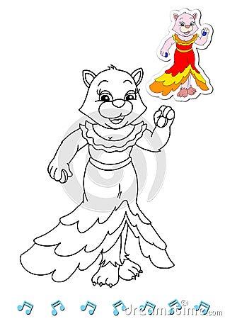 Coloring book animal dancers 16 - cat