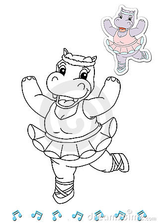 Coloring book animal dancers 17 - hippo