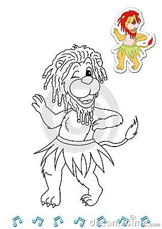 Coloring book animal dancers 18 - lion