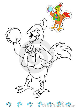 Coloring book animal dancers 2 - rooster