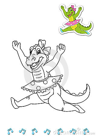 Coloring book animal dancers 3 - crocodile