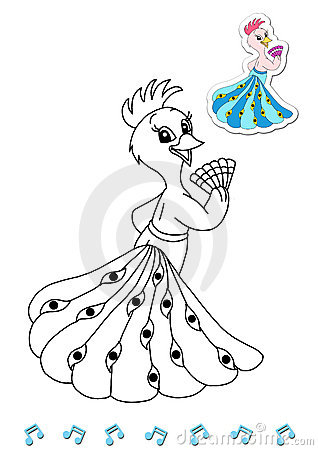 Coloring book animal dancers 4 - peacock