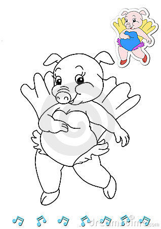 Coloring book animal dancers 6 - pig