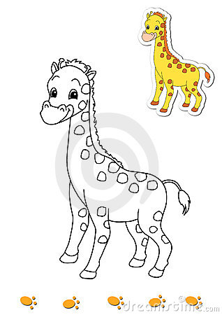 Coloring book of animals 10 - giraffe