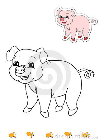Coloring book of animals 5 - pig