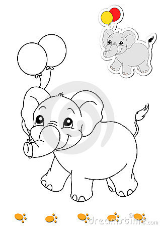 Coloring book of animals 8 - elephant