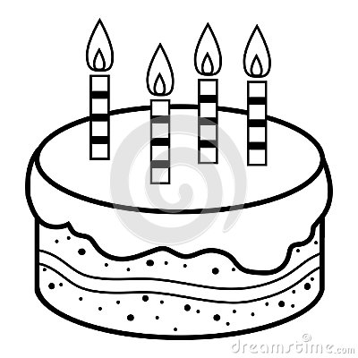 Free Coloring Book, Birthday Cake Stock Photography - 122811292