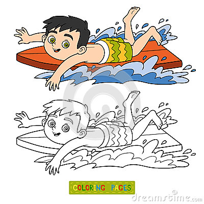 boy with bread coloring page stock illustration image 51089114