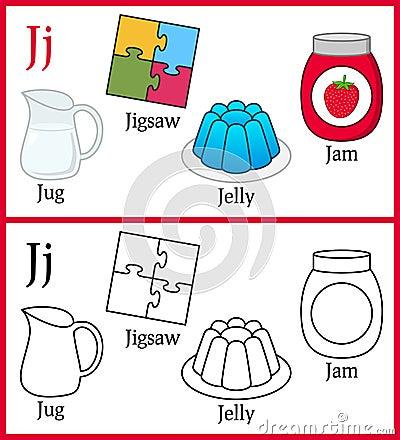 Coloring Book For Children Alphabet J Stock Vector