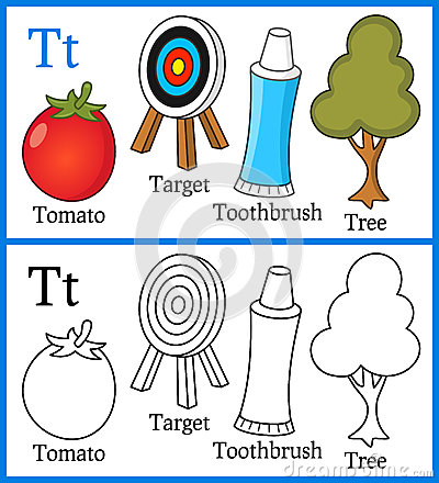 alphabet letter t coloring book for children with cartoon objects target tomato toothpaste tree isolated on white background - Coloring Book For Children
