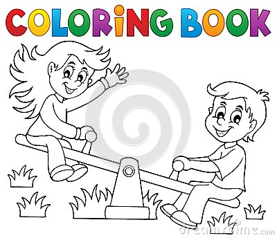 Coloring book children on seesaw theme 1 Vector Illustration