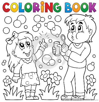 Free Coloring Book Children With Bubble Kit Royalty Free Stock Photography - 54888217