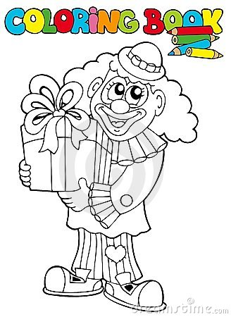 Coloring book with clown and gift