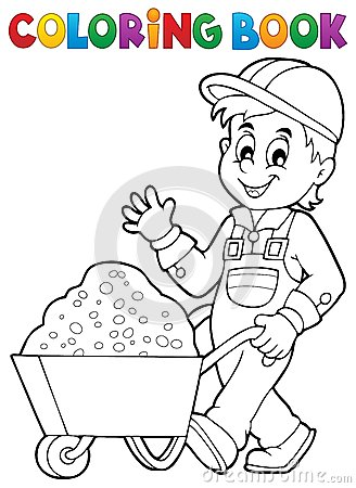Free Coloring Book Construction Worker 1 Stock Photography - 60705102