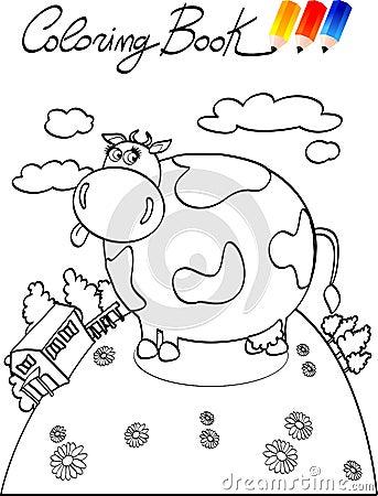 Coloring book, cow farm