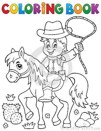 Coloring Book Cowboy On Horse Theme 1 Stock Vector Image