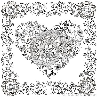 Free Coloring Book Decorative Heart Of Flowers And Butterflies In Floral Frame.Vector Illustration. Stock Images - 115668714