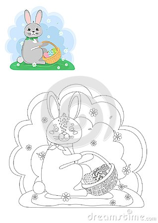 Free Coloring Book. Easter Bunny. Royalty Free Stock Images - 112563809