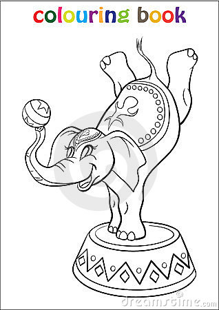 Coloring Book With Elephant Circus