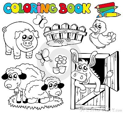 Coloring Book With Farm Animals 2 Stock Photography - Image: 16465572