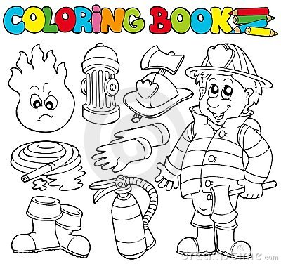 Free Coloring Book Firefighter Collection Royalty Free Stock Photography - 16682457