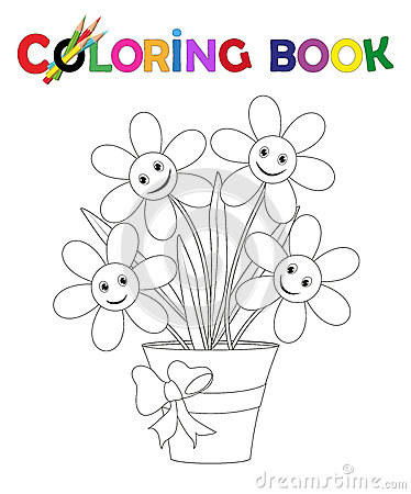 Free Coloring Book Flowerpot With Flowers And Ribbon Stock Image - 66904771