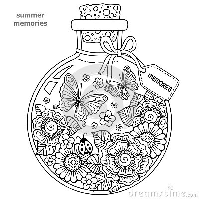Free Coloring Book For Adults. A Glass Vessel With Memories Of Summer. A Bottle With Bees, Butterflies, Ladybug And Leaves. Royalty Free Stock Image - 100176736