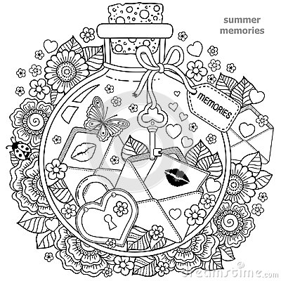 Free Coloring Book For Adults. A Glass Vessel With Memories Of Summer. A Bottle With Bees, Butterflies, Ladybug And Leaves. Royalty Free Stock Photo - 100176795