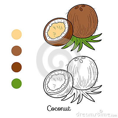 Free Coloring Book: Fruits And Vegetables (coconut) Royalty Free Stock Photography - 56224207