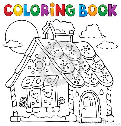 Free Coloring Book Gingerbread House Theme 1 Stock Images - 95892934