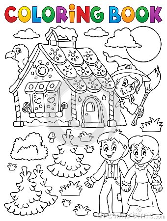 Free Coloring Book Hansel And Gretel 1 Stock Photos - 96014713