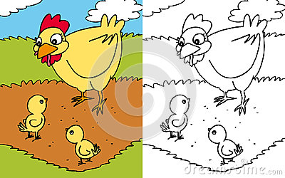 Coloring book hen and chicks