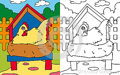 Coloring book hen hatching