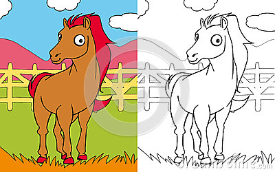 Coloring book horse