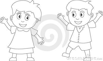 two kids in black and white useful also for colouring book for kids you can find other bw illustrations in my portfolio - Coloring Pictures Of Children