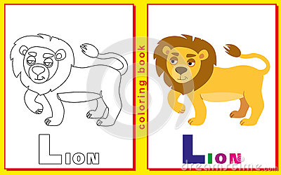 Coloring Book for Kids with letters and words. Lion Vector Illustration