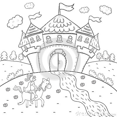 Magic Coloring Book Download Knight On Horseback And Castle Design For Kids