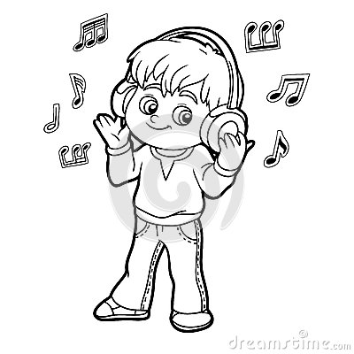 Free Coloring Book: Little Boy Listening To Music On Headphones Stock Photos - 60178843
