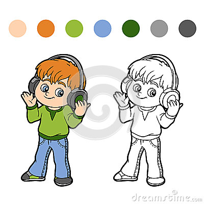 Free Coloring Book: Little Boy Listening To Music On Headphones Stock Photo - 60178850