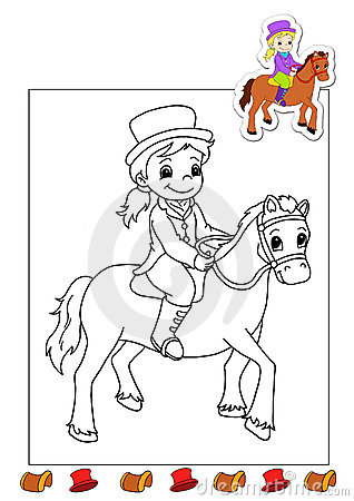 Free Coloring Book Of The Works 17 - Horsewoman Stock Photos - 15020813