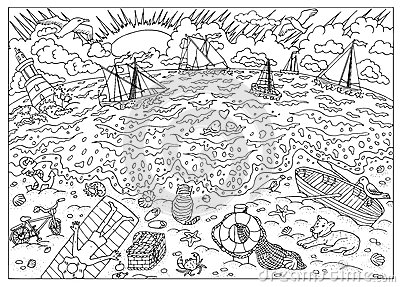 Coloring Book Page Beach After