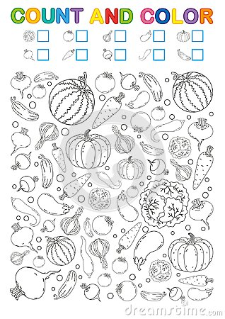 Free Coloring Book Page. Count And Color. Printable Worksheet For Kindergarten And Preschool. Exercises For Study Numbers. Bright Veget Royalty Free Stock Photos - 124319228