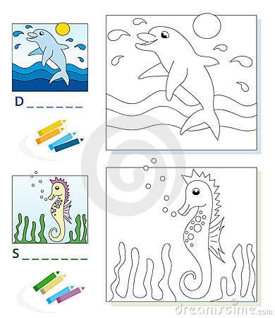 Coloring book page: dolphin & seahorse